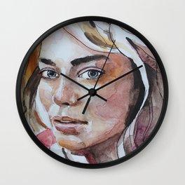 Watercolor art, portrait blonde girl Wall Clock