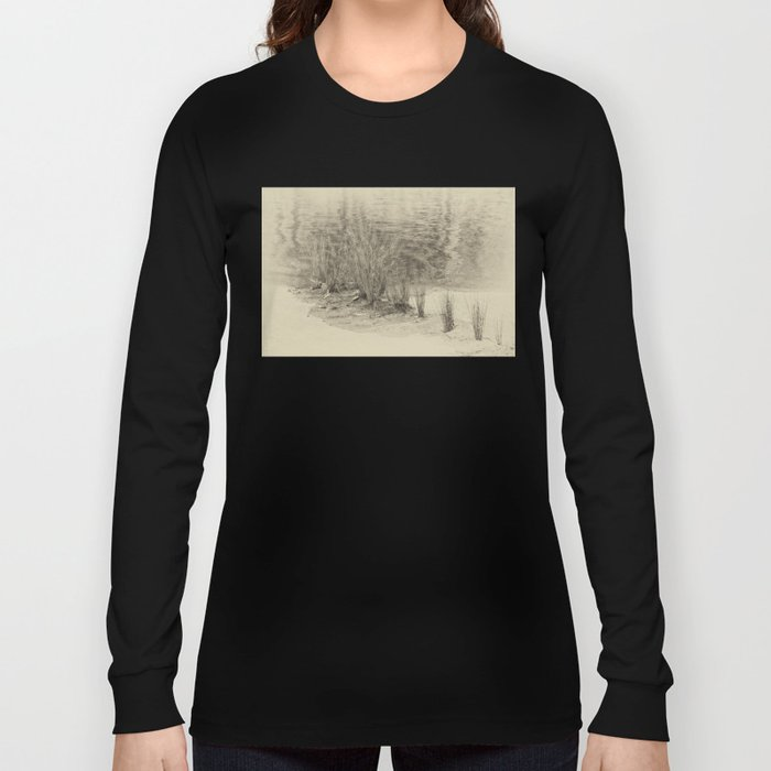 Beautiful river grasses in sepia Long Sleeve T-shirt
