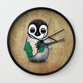 Baby Penguin Playing Nigerian Flag Acoustic Guitar Wall Clock
