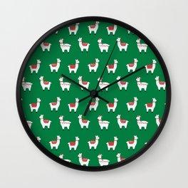 llamas cute nursery home decor alpaca pattern print by charlotte winter Wall Clock