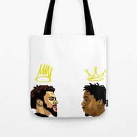 kendrick lamar Tote Bags featuring 2 Kings. Kendrick Cole by MikeHanz
