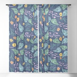 Watercolour dark blue seamless pattern background with whimsical flowers. Sheer Curtain