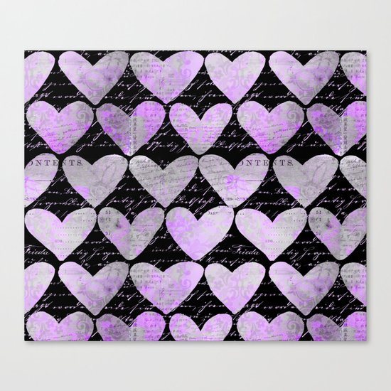 pink heart typography pattern Canvas Print