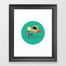 Nerd playing Pong Framed Art Print