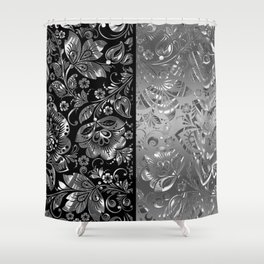 Metallic Silver Vintage Damasks Pattern Shower Curtain