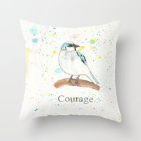 courage Throw Pillows featuring Courage by Tammy Kushnir