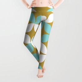 Atomic Age Midcentury Modern Neutra Minimalist Pattern in Aqua and White on Burnished Gold Leggings