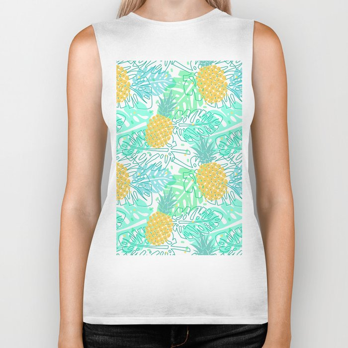 Tropical Pineapple and Leaf Pattern Biker Tank