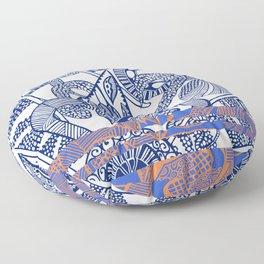 Ornate White and Blue Stripe Floor Pillow
