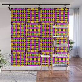 Strict poplite of intersecting blue squares and green curly rhombuses. Wall Mural