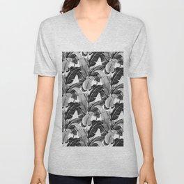 Tropical banana leaf black and white Unisex V-Neck