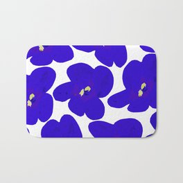 Blue Retro Flowers  Bath Mat