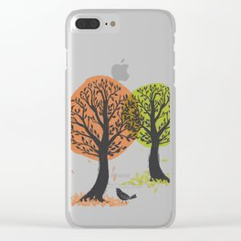 Autumn Is For The Birds Stamped Linocut Clear iPhone Case