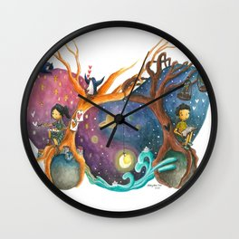 Heart Painting of Girl and Boy on Different Planets And the Galaxy Between Their Trees Wall Clock