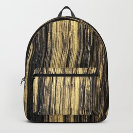 Elegant black faux gold acrylic abstract brushstrokes Backpack