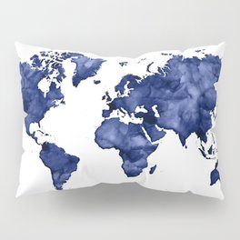 Dark navy blue watercolor world map Pillow Sham
