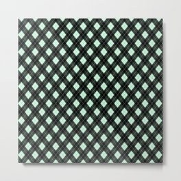 Summermint Green and Black Argyle Plaid Pattern Metal Print