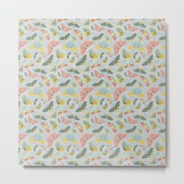 Fluttering in Pink and Green Metal Print