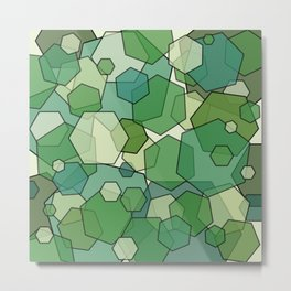 Converging Hexes - Green and Yellow Metal Print
