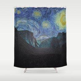 Vincent Van Gogh's Starry Night Over Yosemite National Park Landscape Shower Curtain