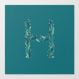 Turquoise flowers alphabet H Canvas Print
