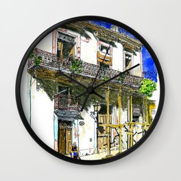Man Sitting in Front of His House, Habana Vieja, Cuba Wall Clock