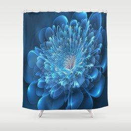 3D Blue Flower Shower Curtain