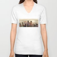 metal V-neck T-shirts featuring Metal City - beige by Klara Acel