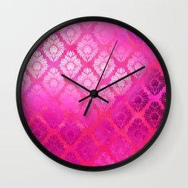"""Magenta Pink Damask Pattern"" Wall Clock"