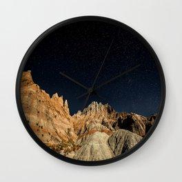 Into the Sea - Night Sky Over the South Dakota Badlands Wall Clock