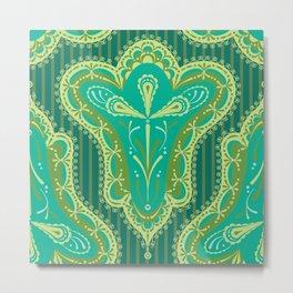 Paisley Fleur in Soft Greens & Warm Teals (ornate pattern) Metal Print