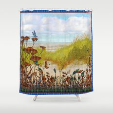 Plaid Beachscape with Dragonflies Shower Curtain