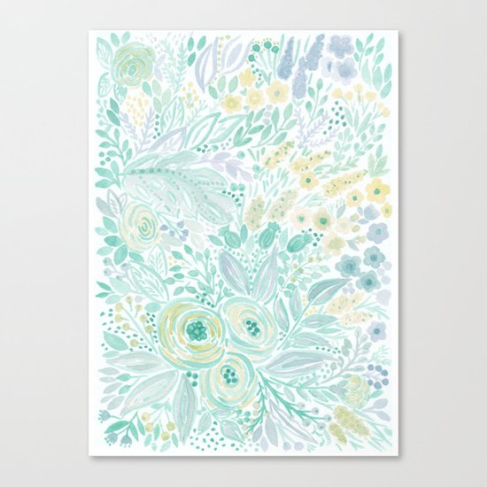 Watercolor . Flower meadow . 2 Canvas Print