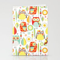 mod Stationery Cards featuring Mod Owls by Jeannine Feierbach Designs