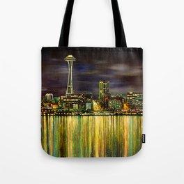 Seattle Night Skyline #3 Tote Bag