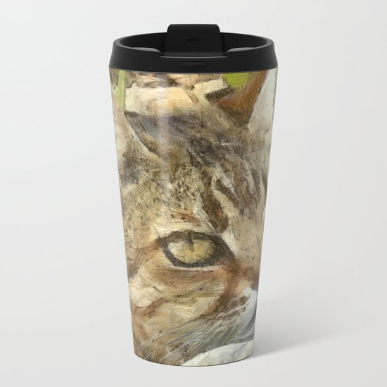 Relaxed Tabby Cat Resting In Garden Metal Travel Mug