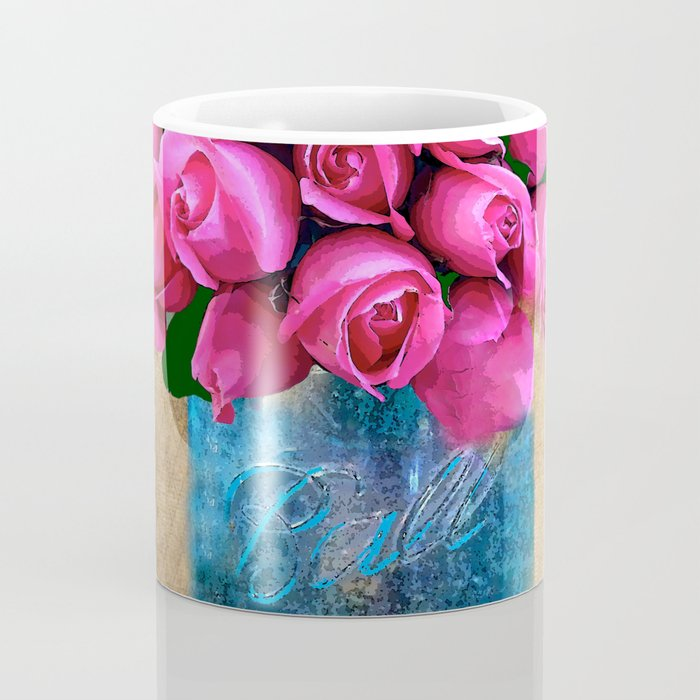 BALL MASON JAR AND ROSES Coffee Mug