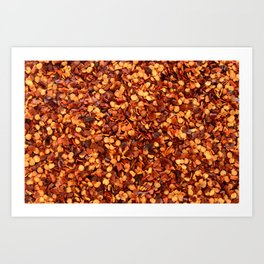 Hot and spicy crushed chilli peppers Art Print