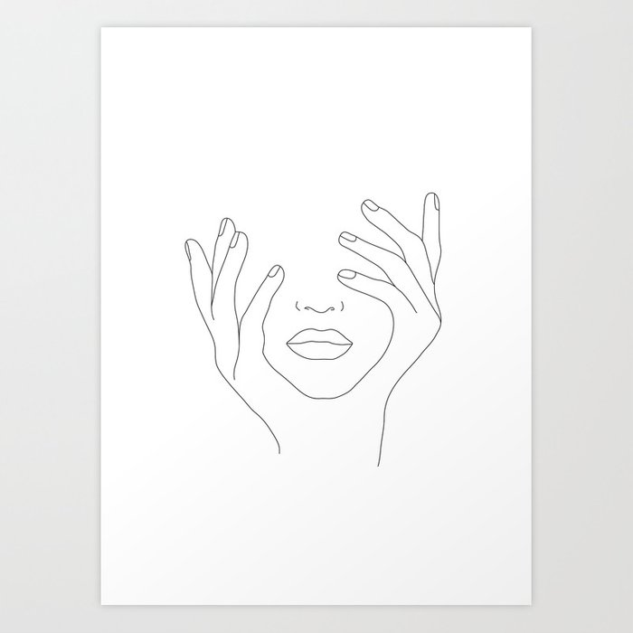 Minimal Line Art Woman with Hands on Face Kunstdrucke
