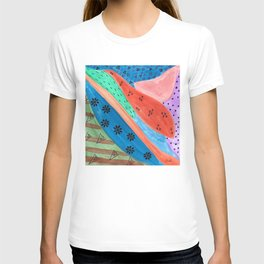 Groovy Mixed Media Multicolor Watercolor and Sharpie Pen Design T-shirt