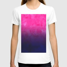 Boho pink navy blue watercolor ombre gradient fade T-shirt