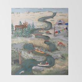 Canoeing Throw Blanket