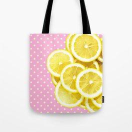 Candy Pink and Lemon Polka Dots Tote Bag