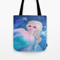 frozen elsa Tote Bags featuring Elsa Frozen by sazrella illustration