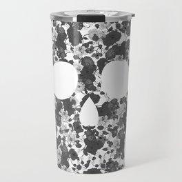 Black and White, Flower Skull Travel Mug
