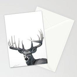 The Majestic Trophy Buck - Deer Graphite Pencil Drawing - by Julio Lucas Stationery Cards