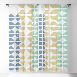 Tricol Wedge Kisses  - Blue, Gold & Mint Shapes Sheer Curtain