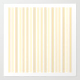 Trendy Large Buttercup Yellow Pastel Butter French Mattress Ticking Double Stripes Art Print