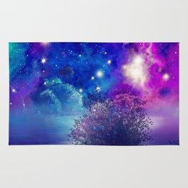 purple blue galaxy landscape Rug