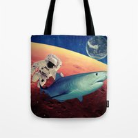 shark Tote Bags featuring Shark by Cs025